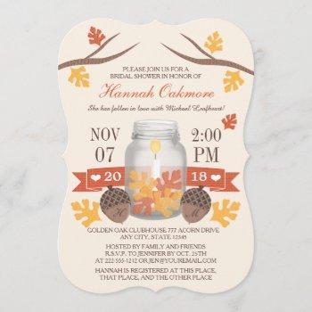 monogrammed fall leaves mason jar bridal shower invitation