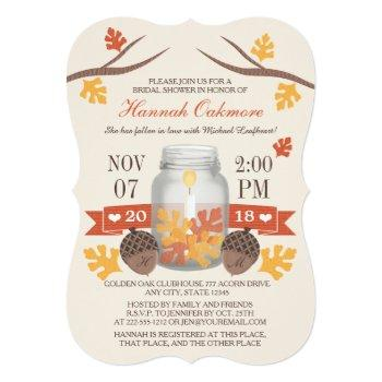 monogrammed fall leaves mason jar bridal shower invitation