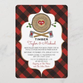 monogrammed lumberjack and jill wedding shower invitation