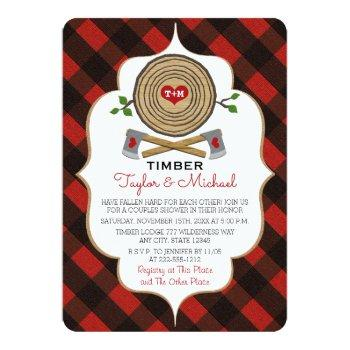monogrammed lumberjack and jill wedding shower invitation