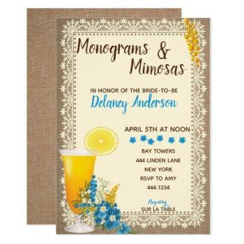 monograms and mimosas bridal shower invitations