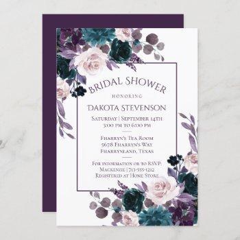 moody boho   eggplant purple bouquet bridal shower invitation