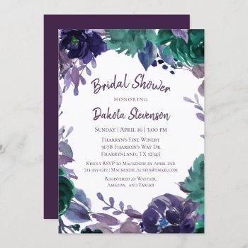 moody boho   eggplant purple brush bridal shower invitation