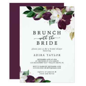 moody purple brunch with the bride bridal shower invitation