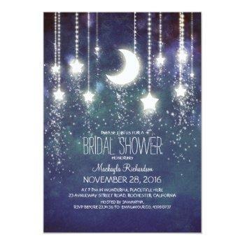 moon stars & string lights bridal shower invitation