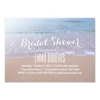 morning on the beach beautiful bridal shower invitation