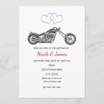 motorcycle & silver hearts biker wedding invitation