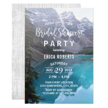 mountain lake wedding bridal shower invitation
