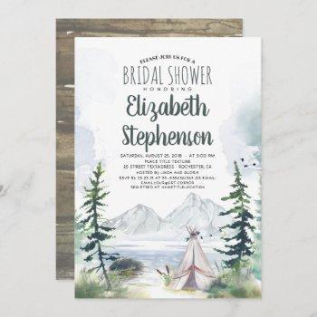 mountains adventure boho rustic bridal shower invitation