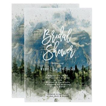 mountains fir trees  bridal shower invitation