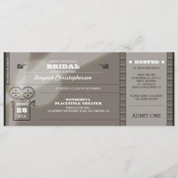 movie premiere bridal shower tickets invitation