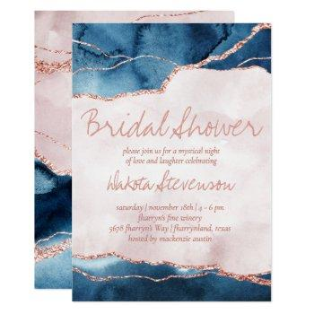 mystic elegance | blue pink agate bridal shower invitation