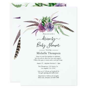 mystical succulents drive by bridal or baby shower invitation