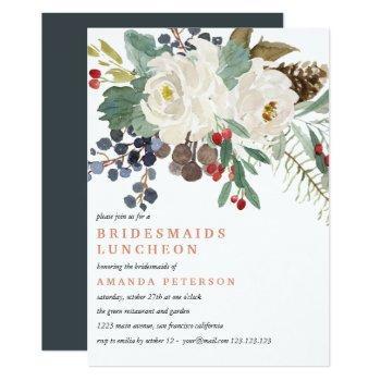 mystical winter   bridesmaids luncheon wedding invitation
