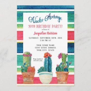 nacho average birthday party floral desert cactus invitation