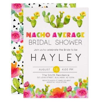 nacho average bridal shower fiesta cactus invitation