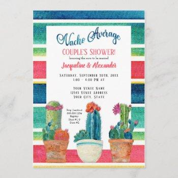 nacho average couples shower floral desert cactus invitation