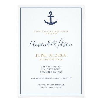 nautical anchor blue white gold bridal shower invitation