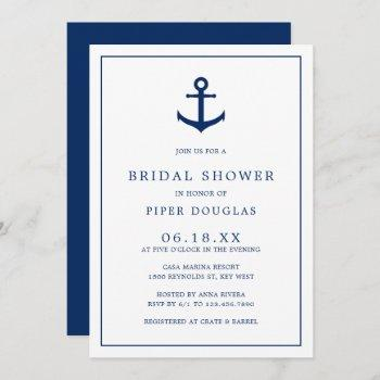 nautical anchor elegant navy blue bridal shower invitation