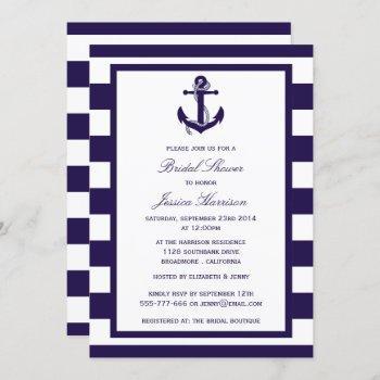 nautical anchor navy stripe bridal shower invitation