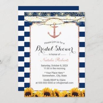 nautical anchor sunflower navy blue bridal shower invitation