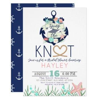 nautical anchor tying the knot bridal shower invitation