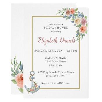 nautical anchor wedding shower invitation