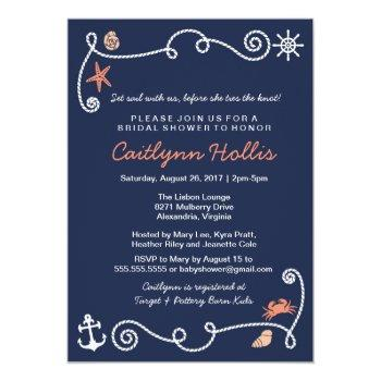 nautical beach navy & coral bridal or baby shower invitation