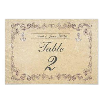 nautical beach vintage wedding table number card