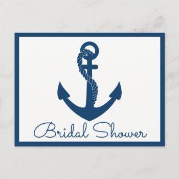 nautical bridal shower anchor navy blue wedding invitation postcard