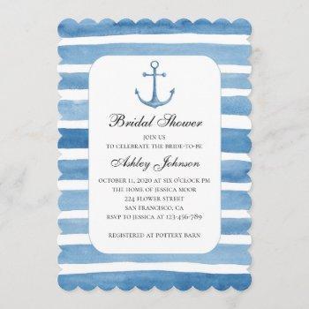 nautical bridal shower. blue anchor invitation