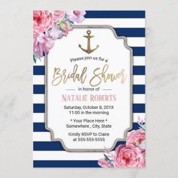 nautical bridal shower pink floral navy stripes invitation