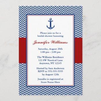 nautical chevron anchor blue red bridal shower invitation