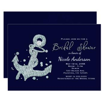 nautical diamond anchor bridal shower invitations