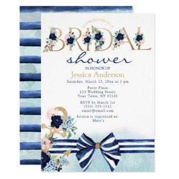 nautical floral royal blue and gold bridal shower invitation