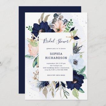 nautical flowers | navy blue bridal shower invitation
