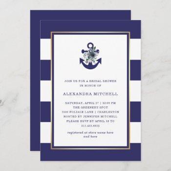 nautical flowers | navy blue floral bridal shower invitation