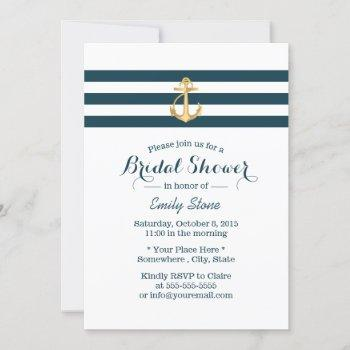 nautical gold anchor navy stripes bridal shower invitation