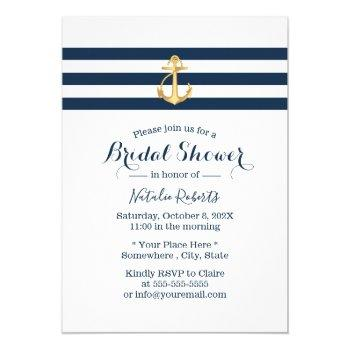 nautical gold anchor navy stripes bridal shower invitation