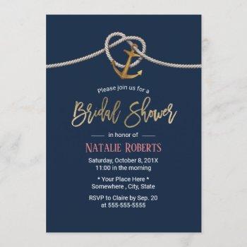nautical gold anchor rope navy blue bridal shower invitation