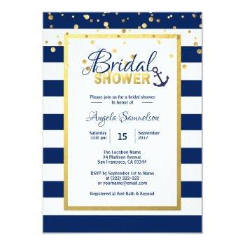 nautical gold navy blue stripes bridal shower invitation