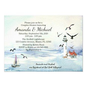 nautical lighthouse couples wedding shower invite