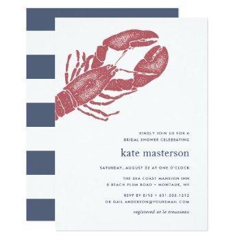nautical lobster bridal shower invitation