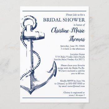 nautical navy anchor bridal shower recipe request invitation