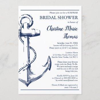 nautical navy anchor surprise bridal shower recipe invitation