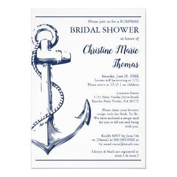 nautical navy anchor surprise bridal shower recipe invitation