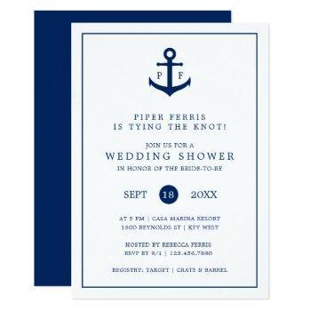 nautical navy blue anchor monogram wedding shower invitation
