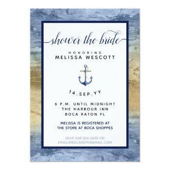 nautical navy blue & gold watercolor bridal shower invitation