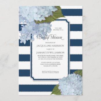 nautical navy blue hydrangea modern bridal shower invitation