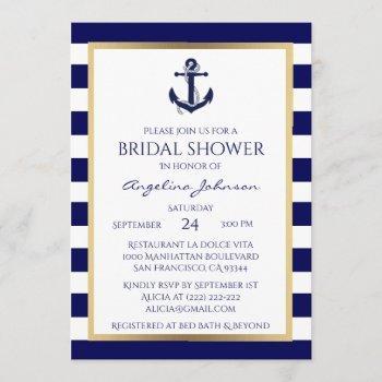 nautical navy blue/white bridal shower invitations